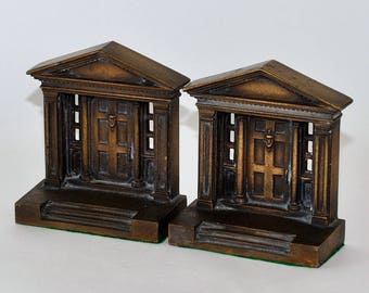 Antique Architectural Doorway Bookends with Bronze Finish, Pair
