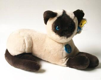 Cat stuffed animal Dakin Animal 1980s Siamese Cat Cinnamon Cat Plush