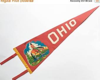 SALE Pennant Felt Pennant Travel Pennant Ohio Pennant Travel souvenir RV Decor 1950s Ohio Souvenir Pennant