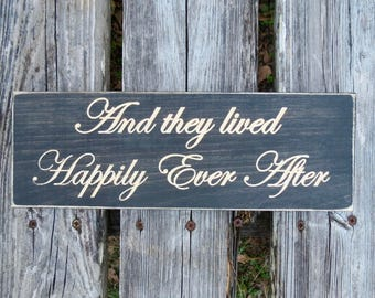 and they lived happily ever after sign,wedding sign,wedding,wedding decor,wedding gift,wedding signs,anniversary gift,flower girl sign,