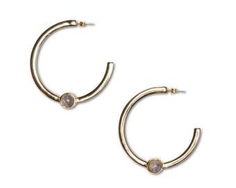 14K gold plated stone hoop earrings