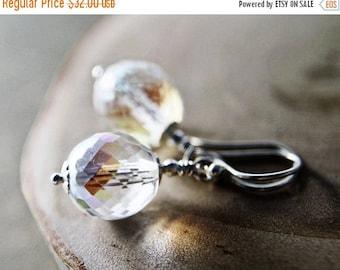 Summer Sale Glass Drop Earrings Glass Dangles Silver Bridal Dangle PoleStar