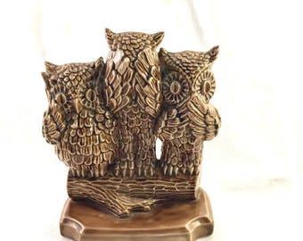 Hear no evil etsy - Hear no evil owls ceramic ...