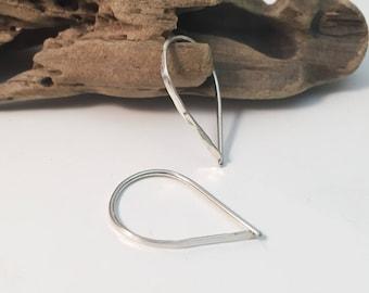 Sterling Silver Teardrop Threader Earrings - Small(E464SS-S) - wire jewelry by cristysjewelry on etsy