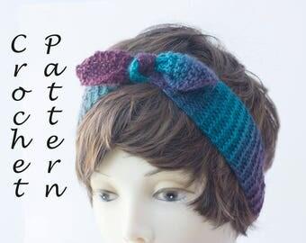 Retro Headband Knitting Pattern, Tied Headband PDF Instant Download, Knit Head Wrap