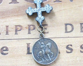 Joan of Arc Vintage Replica Necklace with Rhinestone Cross
