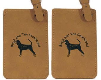 Black and Tan Coonhound Standing Luggage Tag 2 Pack L1766 - Free Shipping