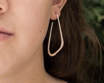 Sterling Silver Hoop Earrings, Geometric Low D Shiny