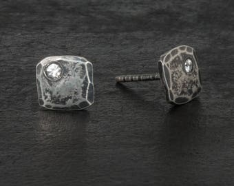 Small square stud post earrings- antique finish sterling silver
