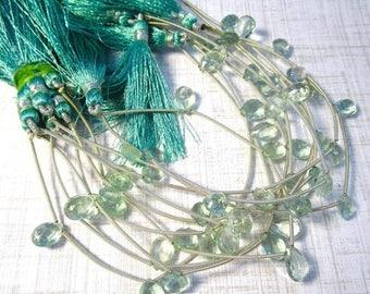 20% OFF SALE Natural Aquamarine Blue Fluorite Briolette Beads, 10mm 11mm Beads , Natural Blue Green Gemstone