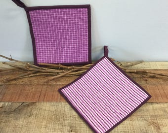 Purple Striped Pot Holders - Quilted Pot Holders - Housewarming Gift - 9 Inch Pot Holders - Hostess Gift - Kitchen Gift - Set of 2