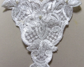 White embroidered lace applique necklace -  white pearl beads -trach stoma covers