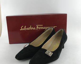 Vintage Salvatore Ferragamo Black Suede Shoes Size 4D