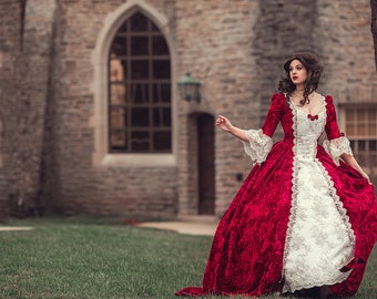 Belle Cosplay Wedding Portrait Holiday Red Velvet Gown and lined Cape Custom Size