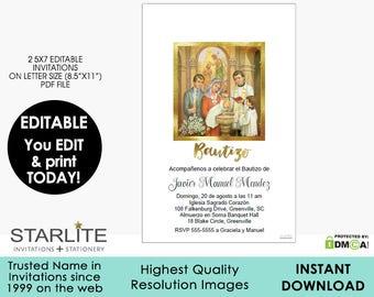 Bautizo Invitation Editable | INSTANT DOWNLOAD | Editable PDF 5x7 Invitation | Cheap Printable Bautizo Invitation Editable | Faux Gold Foil