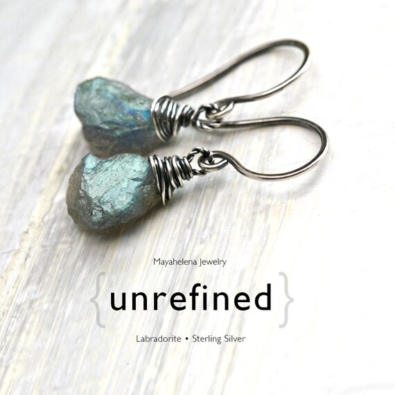 Unrefined  - Raw Labradorite Sterling Silver Wire Wrapped Earrings