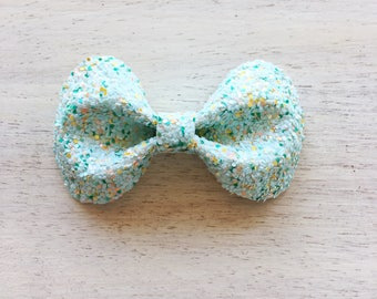 Honeydew Glitter Soho Bow. Frappe Collection. 3 inch Medium Bow. Clip or Headband. RTS