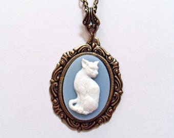 Romantic ivory cat on blue cameo necklace