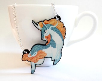 Kirin Chinese Unicorn acrylic charm necklace