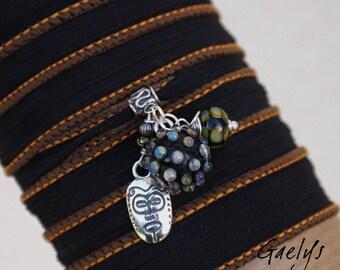 Africa - Bracelet / Collier Breloques - perle boule à picot - verre et soie -  Gaelys
