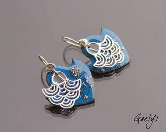 Blue Tegashi - earrings, silver Sterling and enameled copper - Bohemian Chic - bo gaelys