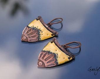 Fanny - etching engraving - earrings copper enamel, welded Barrette - yellow - Style boho chic - bo Gaelys