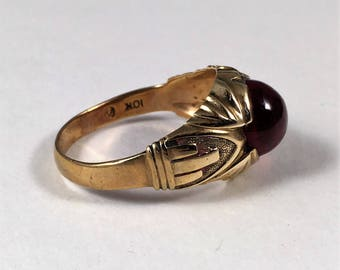 Art Deco Man's Ring, 10k Gold with Lovely Red Stone