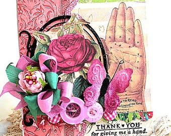victorian greeting card-THANK YOU for giving me a HAND-greeting