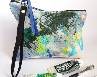 UPCYCLED Asymmetrical Denim Clutch. Abstract Hand Painted Purse. Denim Bag. Recycled Leather. Wrist Strap. Artist Palette.