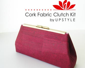 CORK Fabric Clutch Kit - DIY Purse with Modern Clutch - Pro Pattern by UPSTYLE - Medium Wine Red Bag Sewing Craft Tutorial Project