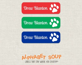 72 personalized dishwasher safe paw print dog labels | choose colors and fonts | microwave safe and waterproof