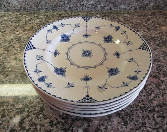 Six Johnson Brothers Blue Danube dinner plates for one price