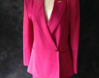 ON SALE Vintage 1980's skirt suit fuchsia Claude Montana power suit