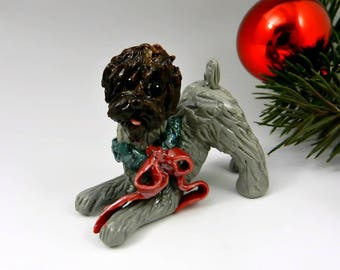 Wirehaired Pointing Griffon Christmas Ornament Figurine Wreath Porcelain