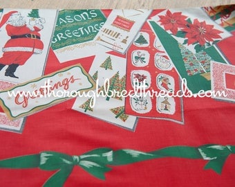 Wonderful Christmas Border Print - Vintage Christmas Cards 36 in wide Holiday