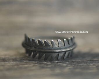 Hand Oxidized Fern Leaf Ring - Patina Solid 925 Sterling Silver - Insurance Included