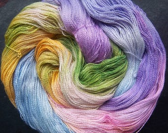 Alpaca Silk Lace 2ply Yarn Elvincraft Hand Dyed Painted Spring Buds