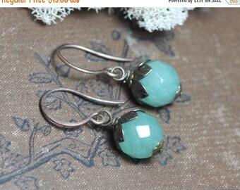 SALE Aventurine Earrings Green Gemstone Earrings Antiqued Brass Luxe Rustic Jewelry