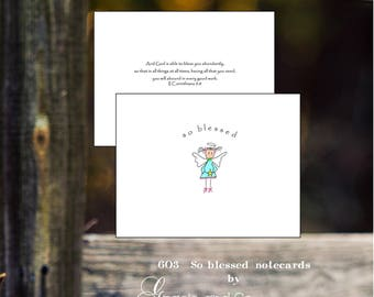 Custom hand drawn designed notecards friendship girlfriend encouragement note cards blessed notecards