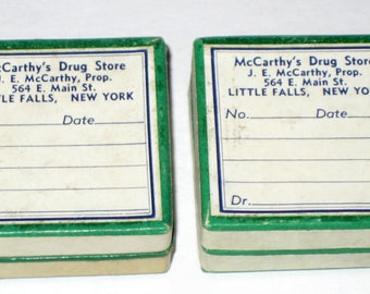 2 Small Vintage Pharmacy Pill  Boxes