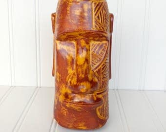 Tapa Tattoo Moai Tiki Mug - Burnt Yellow - Face Moko Version Easter Island