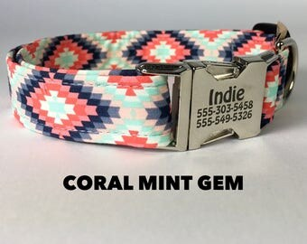 Stylish Dog Collar, Coral Girl Dog Collar, Funky Mutt Dog Collar, Dog Collars on Etsy, Custom Made Dog Collar, Personalized Dog Collar