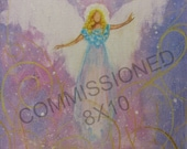 Commissioned  8x10 Acrylic Painting of YOUR Guardian Angel with Angel Reading