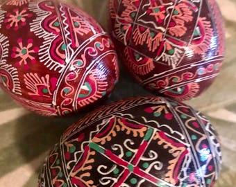 Vintage decorative eggs 90's Russian Ukrainian egg 1990's Russia Ukraine hand painted Easter decorations decor