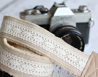 Linen Camera Strap, dSLR Camera Strap, Vintage Camera Strap, Camera Strap for Canon or Nikon - Tan Linen and Lace