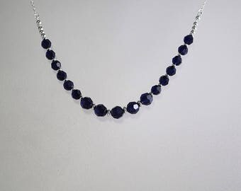 Swarovski Crystal & Silver FIlled Necklace - Bride, Bridesmaids, Flower Girls, Maid of Honor, Party, Prom - Any Color