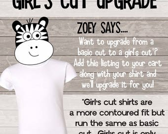 girls cut tee upgrade - use this to upgrade your basic tee to a girls cut cap sleeve tee