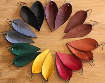 Leather Earrings, Genuine Leather Earrings, Leather Leaf Earrings, Western Earrings, You Choose Color