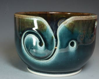 Blue Hand Thrown Ceramic Yarn Bowl
