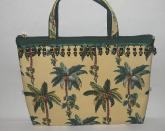 Palm Tree Handbag Purse Dangle Beads Canvas Cloth Gold Satin Lining Beach Bag